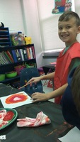 R. Watson's class making fall paintings
