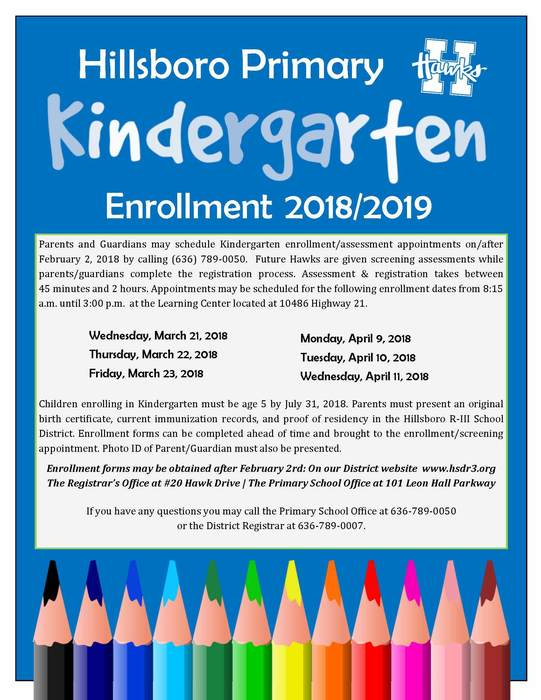 revised kindergarten enrollment info