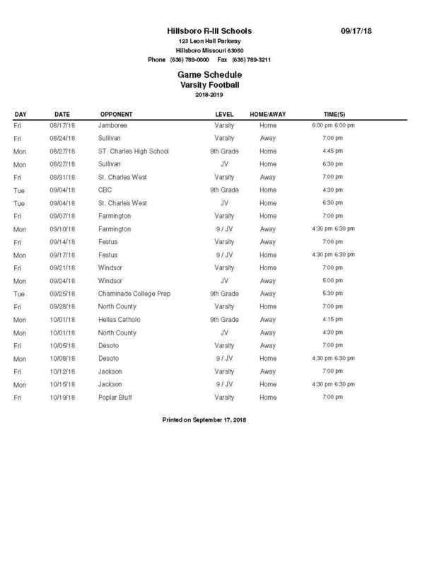 Hawks Football Schedule