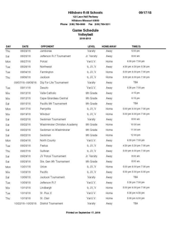 Hawks Volleyball Schedule
