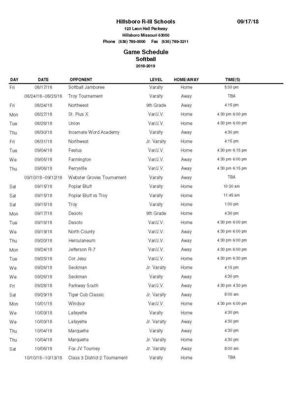 Hawks Softball Schedule