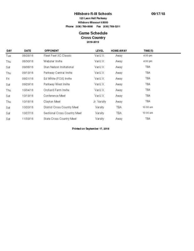 Hawks Cross Country Schedule